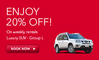 20% off on weekly rentals luxury SUV - Group L